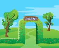 Fundo do verde da porta da entrada do jardim ilustração royalty free