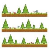 Fundo do verde floresta da arte do pixel para jogos e Imagens de Stock