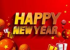 Fundo do vermelho do ano novo feliz ilustração stock