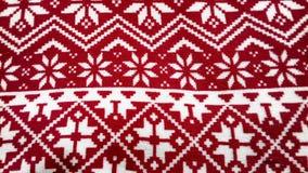 Fundo do vermelho da textura da neve do teste padrão do Natal de Norvegian Fotos de Stock