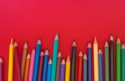 Fundo do vermelho do lápis Foto de Stock Royalty Free