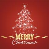 Fundo do vermelho do stardust do símbolo da árvore de Natal ilustração stock