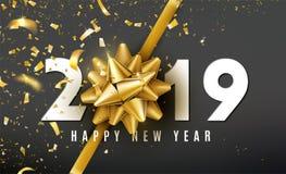 Fundo do vetor do ano 2019 novo feliz com curva dourada do presente, confete, números brancos O Natal comemora o projeto festive ilustração royalty free