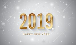 Fundo 2019 do vetor do ano novo feliz com estrela de brilho ilustração do vetor