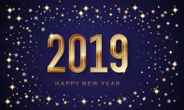 Fundo 2019 do vetor do ano novo feliz com estrela de brilho e número dourado ilustração royalty free