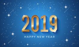 Fundo 2019 do vetor do ano novo feliz com estrela de brilho e número dourado no fundo azul ilustração do vetor