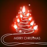 Fundo do vetor com árvore e luzes de Natal Fotos de Stock
