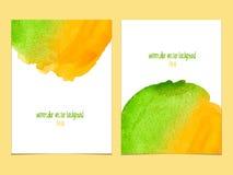 Fundo do vetor com amarelo e verde da aquarela Fotos de Stock Royalty Free