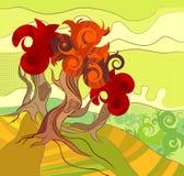 Fundo do vetor com as árvores Ilustração do Vetor