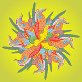Fundo do vetor com as flores incomuns abstratas. Teste padrão brilhante do sumer com o ornamento floral para seu projeto Fotografia de Stock Royalty Free
