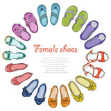 Fundo do vetor com as sapatas das mulheres no círculo Fotos de Stock