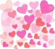 Fundo do vetor com corações Fotos de Stock Royalty Free
