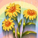 Fundo do vetor com flores Fotos de Stock Royalty Free