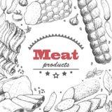 Fundo do vetor com produtos de carne Foto de Stock Royalty Free
