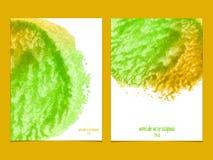 Fundo do vetor com verde e amarelo da aquarela Fotos de Stock Royalty Free