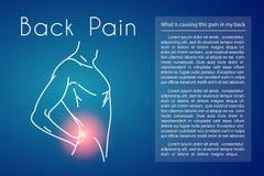 Fundo do vetor da dor nas costas com homem Imagem de Stock