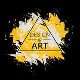 Fundo do vetor da escova de pintura com quadro do triângulo e projeto do texto da arte Cor amarela da tampa abstrata e branca grá Imagens de Stock Royalty Free