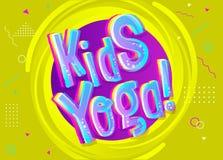 Fundo do vetor da ioga das crianças no estilo dos desenhos animados Sinal engraçado brilhante Foto de Stock