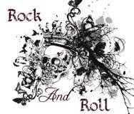 Fundo do vetor da música com o crânio humano tirado mão com coroa Imagem de Stock Royalty Free