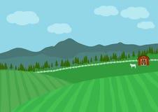 Fundo do vetor da paisagem da exploração agrícola, paisagem da natureza Foto de Stock Royalty Free
