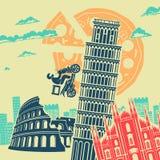 Fundo do vetor das atrações de Itália fotografia de stock