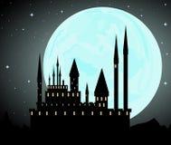 Fundo do vetor de Dia das Bruxas com castelo de Dracula Imagens de Stock Royalty Free