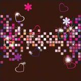 Fundo do vetor de um mosaico e dos corações Fotos de Stock Royalty Free