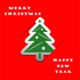 Fundo do vetor do applique da árvore de Natal Foto de Stock Royalty Free