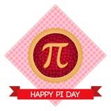 Fundo do vetor do dia do pi Torta cozida da cereja com símbolo e fita do pi Constante matemática, número irracional Imagens de Stock