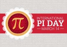 Fundo do vetor do dia do pi Torta cozida da cereja com símbolo e fita do pi Constante matemática, número irracional Foto de Stock
