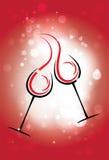 Fundo do vetor do feriado com dois vidros do vinho, as estrelas Fotografia de Stock Royalty Free
