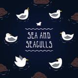Fundo do vetor do mar e das gaivotas ilustração royalty free
