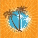 Fundo do vetor do verão de Grunge com palmas ilustração stock