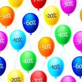 Fundo do vetor dos balões com discontos da venda Imagens de Stock