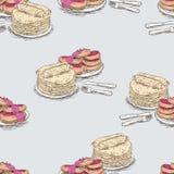 Fundo do vetor dos esboços das panquecas e dos bolos de queijo fotografia de stock