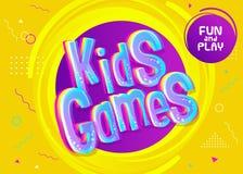 Fundo do vetor dos jogos das crianças no estilo dos desenhos animados Fotografia de Stock