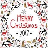 Fundo do vetor Ilustração do Feliz Natal Cartão do feriado Véspera 2017 do ` s do ano novo Imagem de Stock Royalty Free