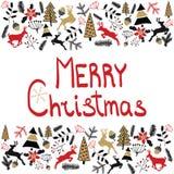 Fundo do vetor Ilustração do Feliz Natal Cartão do feriado Véspera 2017 do ` s do ano novo Fotografia de Stock