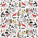 Fundo do vetor Ilustração do Feliz Natal Cartão do feriado Véspera 2017 do ` s do ano novo Cervos Imagem de Stock