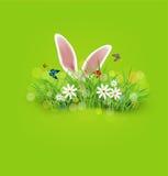 Fundo do vetor para a Páscoa Orelhas de coelho que colam para fora ilustração stock
