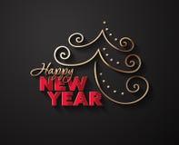 Fundo do vetor pelo ano novo com árvore de Chistmass Imagem de Stock