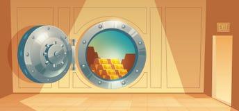 Fundo do vetor - porta do cofre-forte de banco com ouro ilustração royalty free