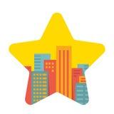 Fundo do vetor: uma grande cidade na estrela Ilustração Royalty Free