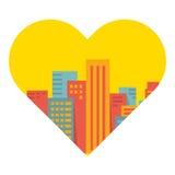 Fundo do vetor: uma grande cidade no coração Ilustração do Vetor