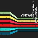 Fundo do vetor do vintage com as listras coloridas do grunge ilustração stock