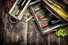 Fundo do vinho Garrafas do vinho vermelho e branco em umas caixas velhas Fotos de Stock Royalty Free