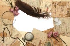 Fundo do vintage com cartão e flor Imagem de Stock Royalty Free