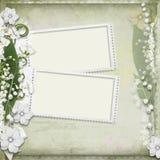 Fundo do vintage com frame e as flores brancas ilustração stock