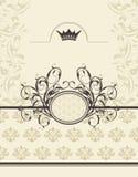 Fundo do vintage com frame floral e coroa Imagem de Stock