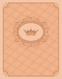 Fundo do vintage com frame floral e coroa Imagens de Stock